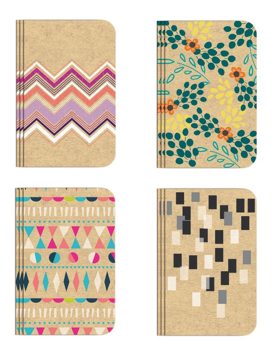 Pocket Notebook Set (12 NotebooksTotal) 3.25'' x 5.25'' Lined Pages, Stitched Binding, 4 Different Designs Stationery Notepad