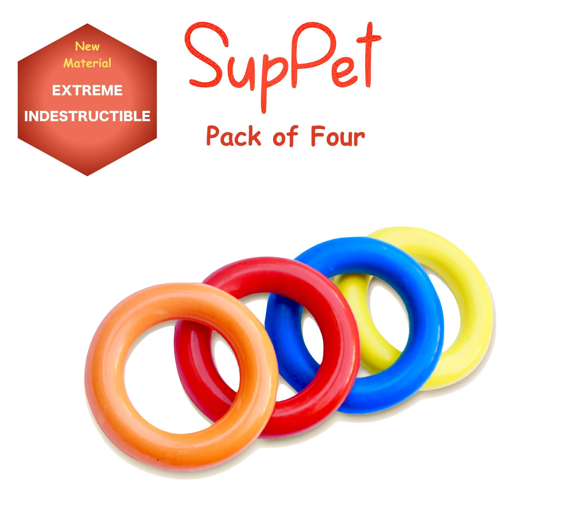 4 PCs Extreme Tough Indestructible Chew Toy for Aggressive chewers - Super Tough Strong Durable Natural Rubber - Non-Toxic 100% Safe. for Large and Small Dogs Pitbulls, German Shepherds Tested by SupPet