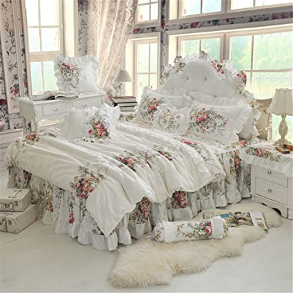 Amazon.com: LELVA Chic Bedding for Girls Shabby Vintage Rose Floral ...