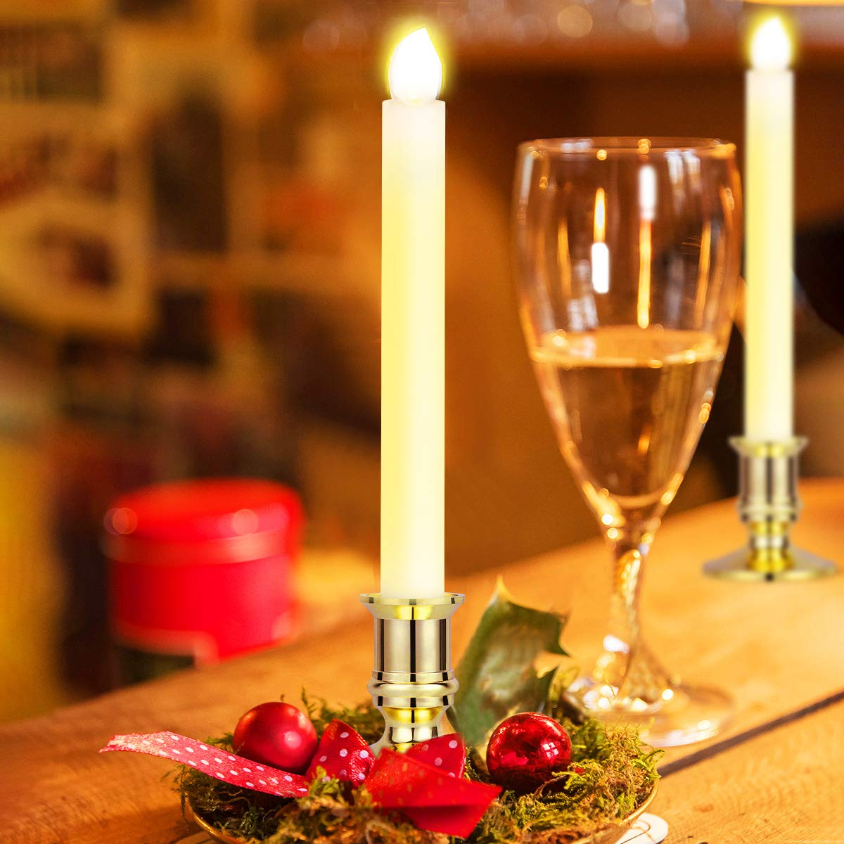 Window Candles Lights, YUNLIGHTS 12 Pack Battery Powered Window Candles Flameless Taper Candles with Remote Control, Timer, Removable Gold Holders, Suction Cups, Warm White Hanukkah Candles by YUNLIGHTS (Image #3)