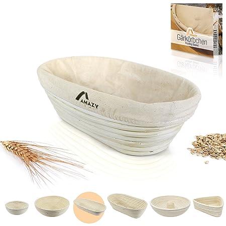Amazy Banneton para pan - La ideal cesta para masa y fermentación de pan de mimbre natural (oval | ∅ 28 cm)