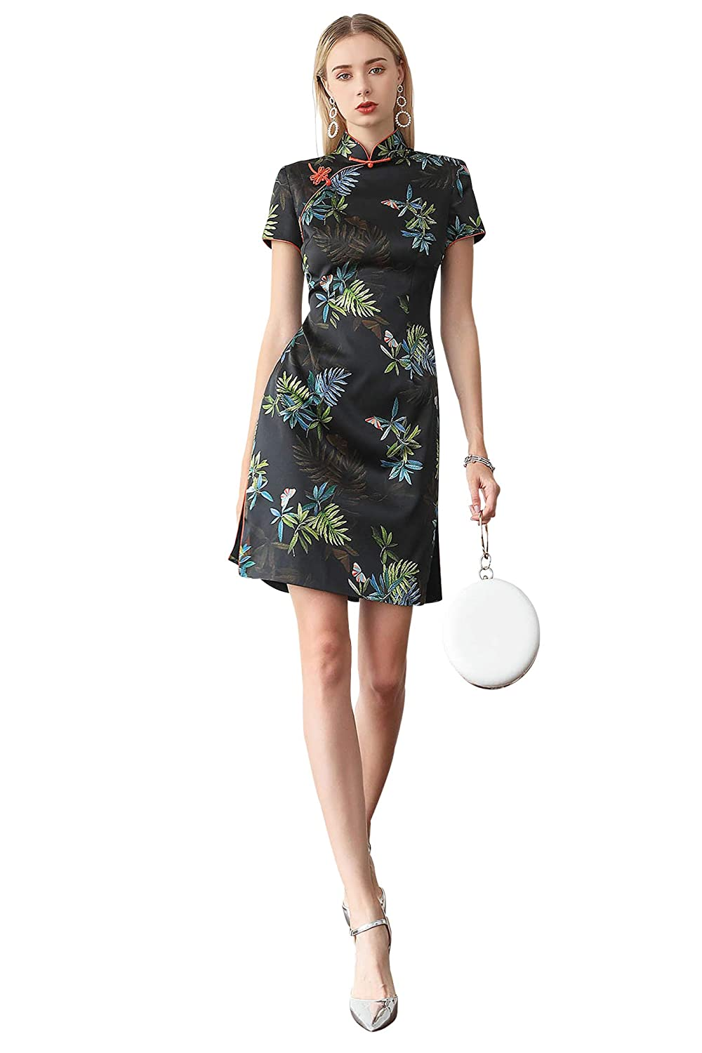 VOA Asian Silk Chinese Traditional Mini Dresses Short Sleeve Floral Qipao  Dress at Amazon Women's Clothing store: