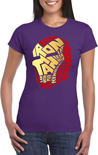 Purple Female Gildan Short Sleeve T-Shirt - Ironman calligraphy – Colored design