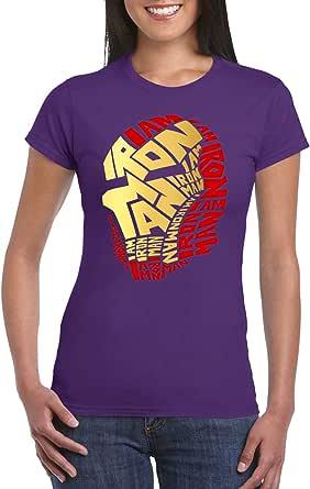 Purple Female Gildan Short Sleeve T-Shirt - Ironman calligraphy – Colored design