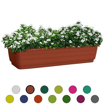 ALMI Atzmon TerraBox Window Planter 24 Inch, Elegant Shaped Flower Tree Pot For Garden, Home decor Planter For Plants, Small Trees, Plant Pot, UV Resistant Paint, Indoor & Outdoor, Terracotta : Garden & Outdoor