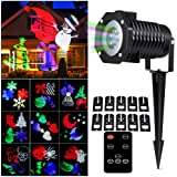 Christmas Light Projector, LOHASLY Rotating Night Light Projector Snowflake Spotlight with Remote, 10 Pattern Sparkling Landscape Lights for Holiday Party Waterproof Multilcolor