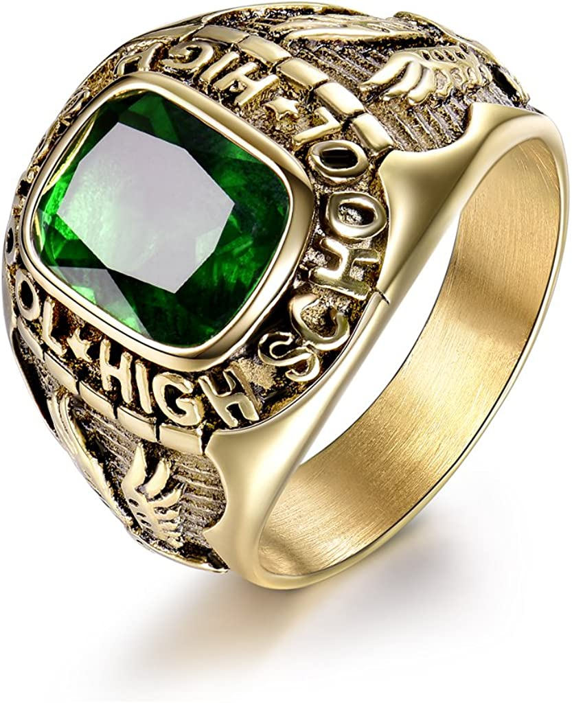 MASOP Emerald Color Green Stone Ring Stainless Steel Male Jewelry Eagle High School Rings Size 8-15