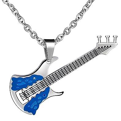 feilok Acero Inoxidable Colgante Fashion Azul Guitarra Guitarra eléctrica Música Símbolo collar collar colgante para hombre: Amazon.es: Joyería