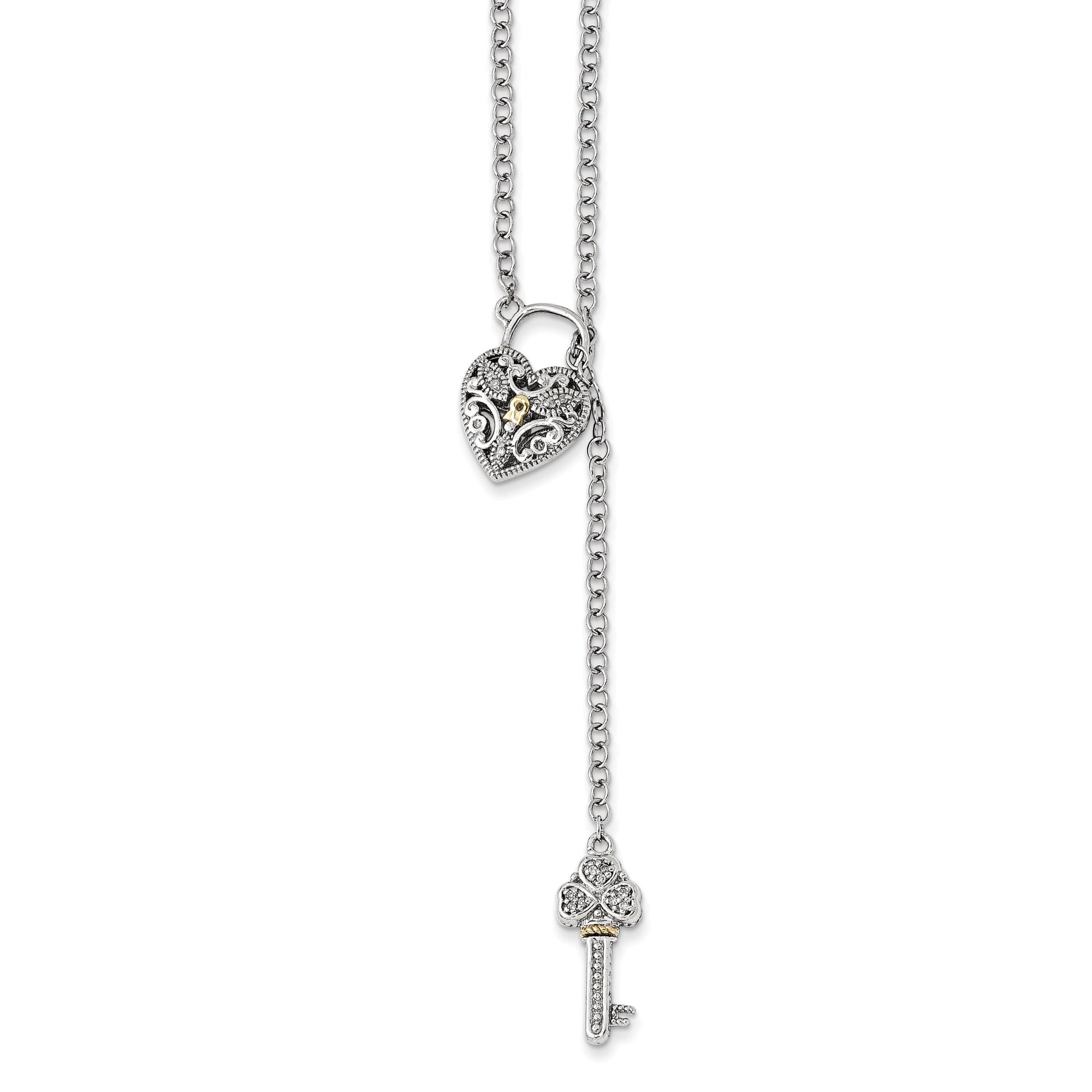 ICE CARATS 925 Sterling Silver 14k Diamond Heart Lock Key Chain Necklace S/love Fine Jewelry Gift Set For Women Heart