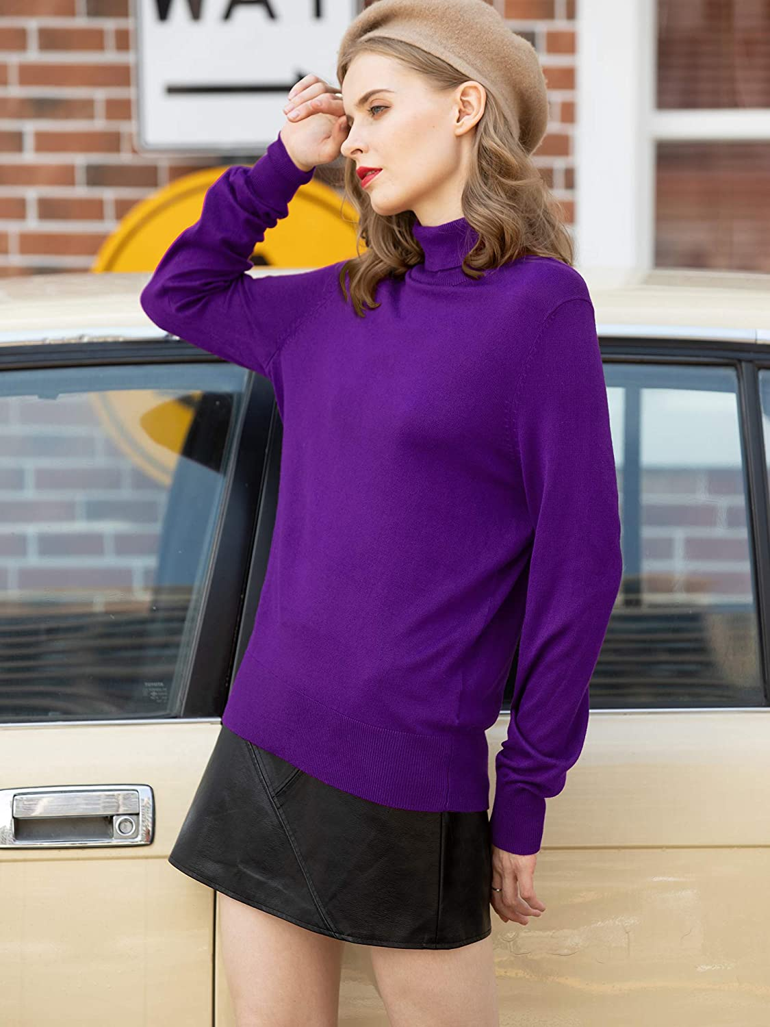 Woolen Bloom Womens Turtleneck Sweater Pullover Lightweight Long Sleeve Sweaters Tops for Women Fall Solid Casual