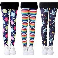 Mengxin 3 Pack Pantalones Leggings Niña Elasticidad Leggins de Niñas con Estampado Floral Pantalón Largo Completo 3-10…