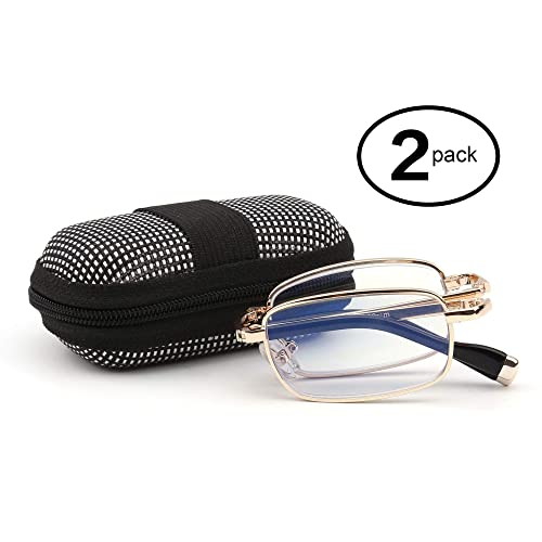 a77b77399b Amazon.com  Foldable Reader Metal Folding Reading Glasses 2 Pair with  Compact Portable Zip Cases for Men Women +1.25  Shoes
