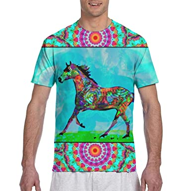 Un Caballo Celta, en Mythic Fields, Rumbo West_1584 Moda para Hombre Cuello Redondo Diseño Manga Corta Slim Fit Camiseta Casual: Amazon.es: Ropa y accesorios