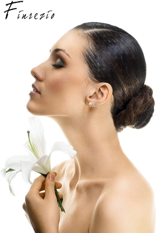 Finrezio 35 Pairs Multiple Dangle Stud Earrings for Women Girls Cute Fake Pearl Crystal Ball Piercing Set