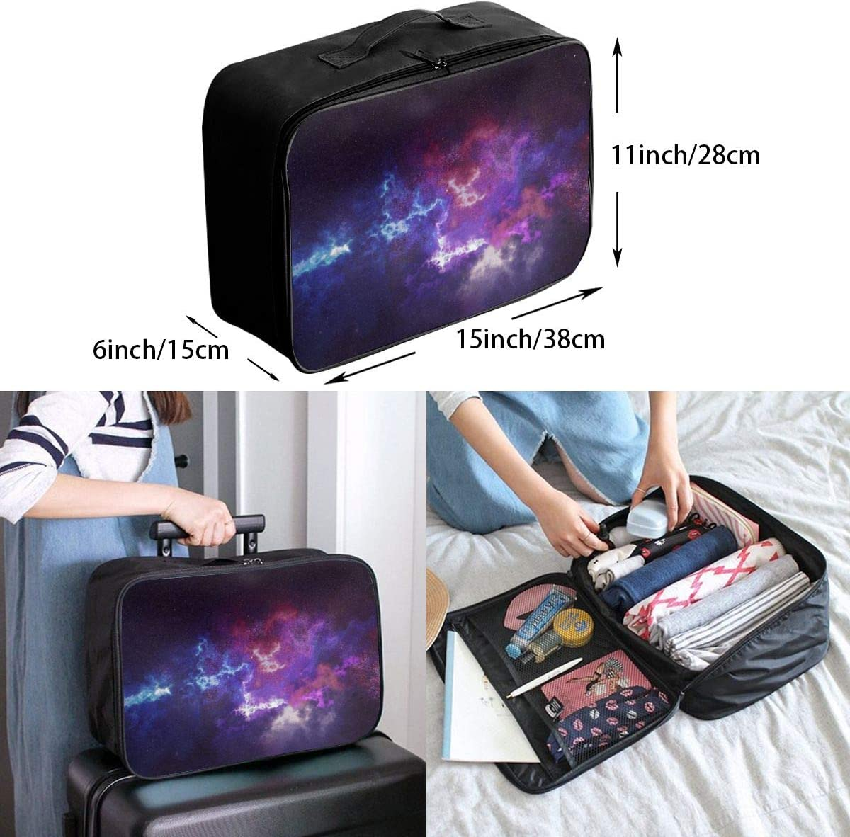 Yunshm Outer Space Galaxy Constellation Personalized Trolley Handbag Waterproof Unisex Large Capacity For Business Travel Storage