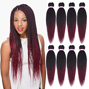 Outstanding Amazon Com 8 Packs Ombre Burgundy Pre Stretched Braiding Hair Schematic Wiring Diagrams Amerangerunnerswayorg