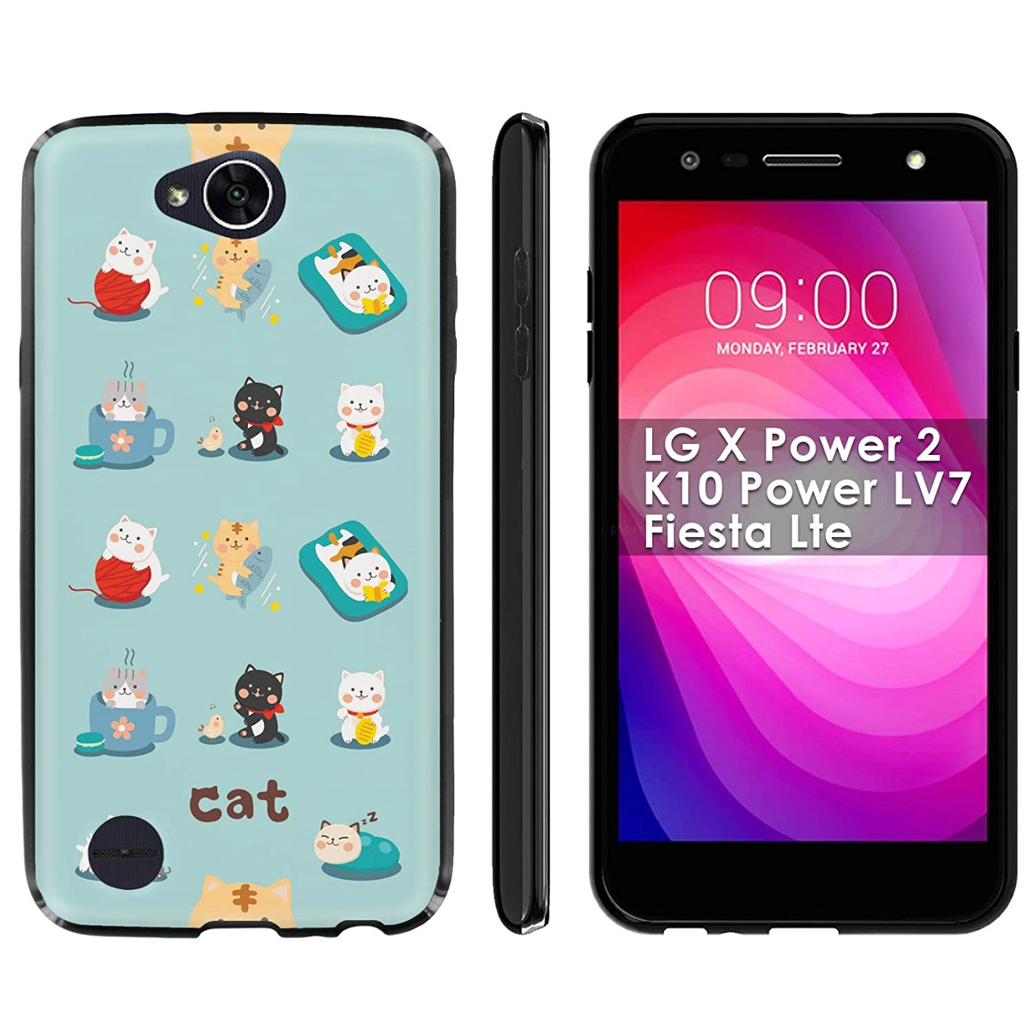 """LG X Charge/X Power 2/K10 Power LV7/Fiesta Lte Silicone Rubber Phone Cover [Case86] [Black] Gel Phone Case - [Cats] for LG X Charge/X Power 2/K10 Power LV7/Fiesta Lte [5.5"""" Screen]"""