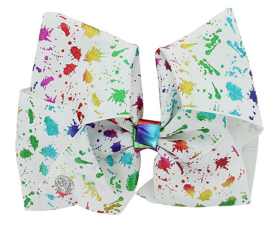 JoJo Siwa Large Cheer Hair Bow (Paint Splatter White)