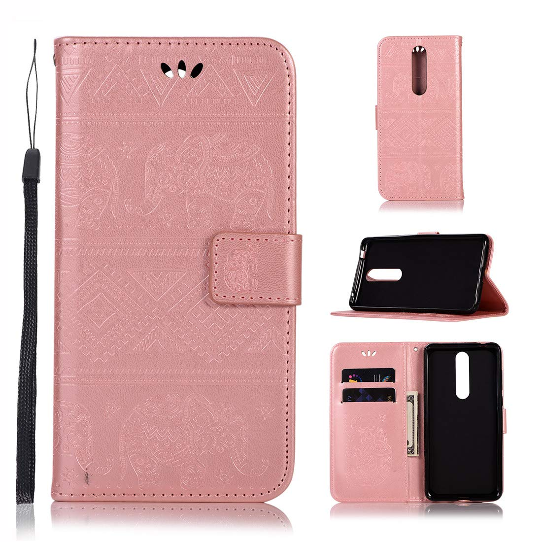 Nokia 3.1 Plus Case, Love Sound [Wrist Strap] [Stand Function] Premium Emboss Elephant PU Leather Wallet Flip Protective Case Cover with Card Slots for Nokia 3.1 Plus 2018, Rose Gold