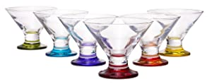 Coral Crema Savory Sweets Footed Ice Cream Bowl, Glass Dessert Cups For Parfait Fruit Salad or Pudding, Assorted Colors, Set of 6, 5.5 oz