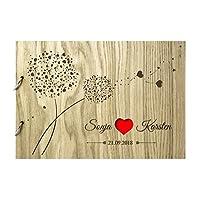 Livingstyle & Wanddesign Rustikales Gästebuch aus Holz zur Hochzeit mit Namen und Datum, Pusteblumen rot (Motiv 10, 76 Seiten/38 Blatt)