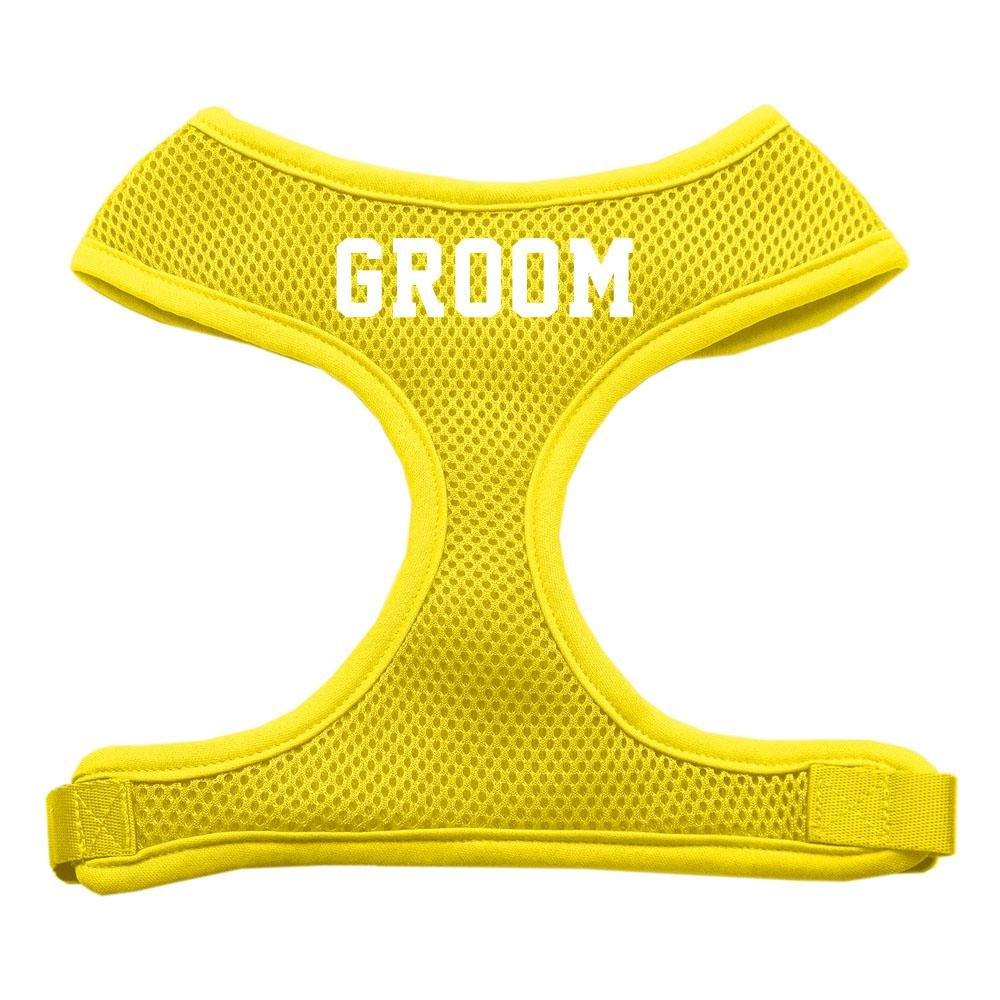 Mirage Pet Products Groom Screen Print Soft Mesh Dog Harnesses, Medium, Yellow