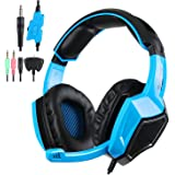 Kingtop Over-Ear Stereo Gaming Headset for PlayStation 4, Black and Blue