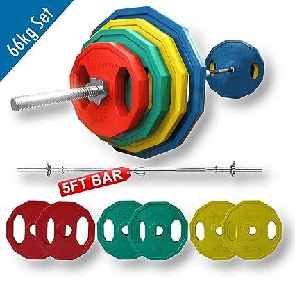 BodyRip 66 kg pesas de poligonales y estándares para barra y juego 152,4 cm