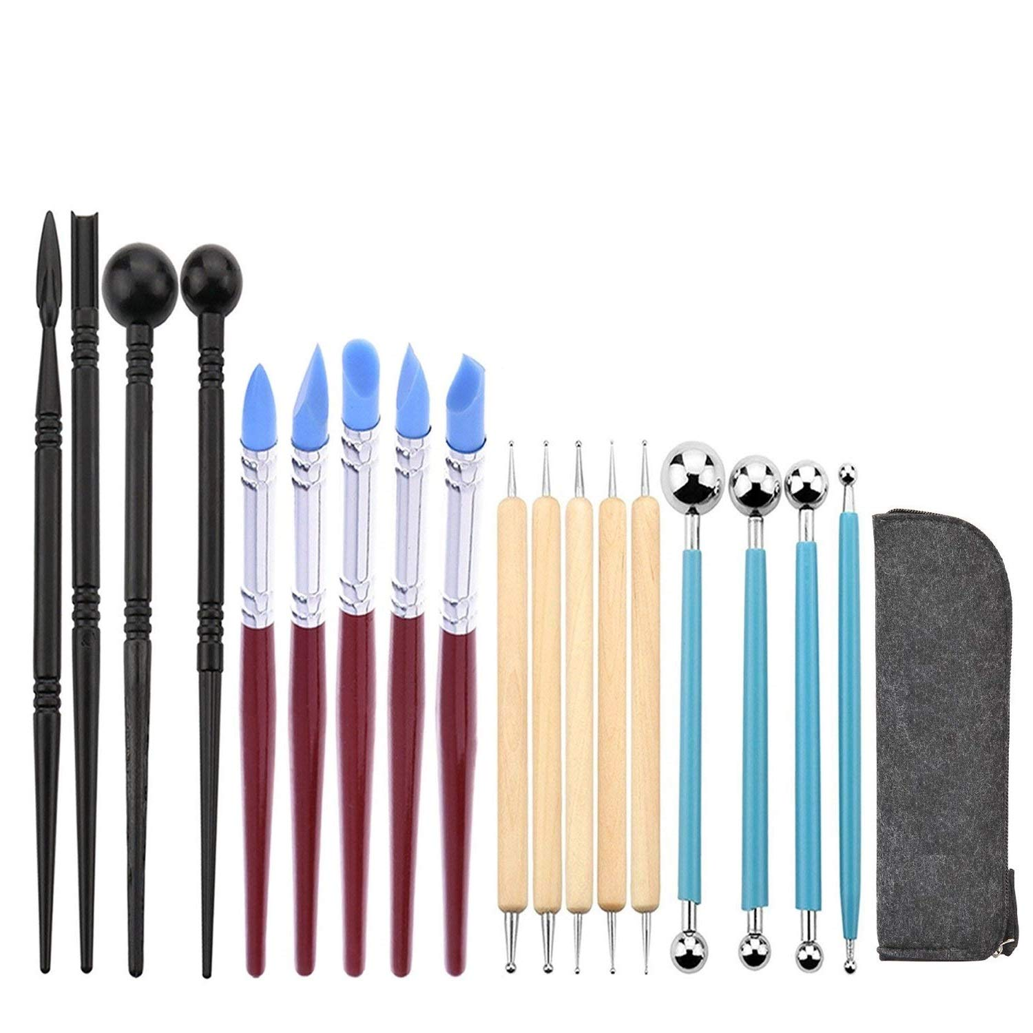 Ball Stylus Dotting Sculpting Kit - Jaybva Polymer Clay Sculptures Tools Rubber Tip Pens for Pottery Rock Painting Ceramics Doll Modeling Carving Embossing Paper Flowers 18pcs