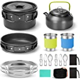 Odoland 15pcs Camping Cookware Mess Kit, Non-Stick Lightweight Pot Pan Kettle Set with Stainless Steel Cups Plates Forks Kniv