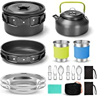 Odoland 15pcs Camping Cookware Mess Kit, Non-Stick Lightweight Pot Pan Kettle Set with Stainless Steel Cups Plates Forks…