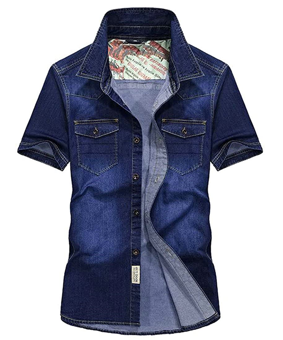 SHOWNO Mens Loose Short Sleeve Denim Slim Button Down Shirt Top Tees