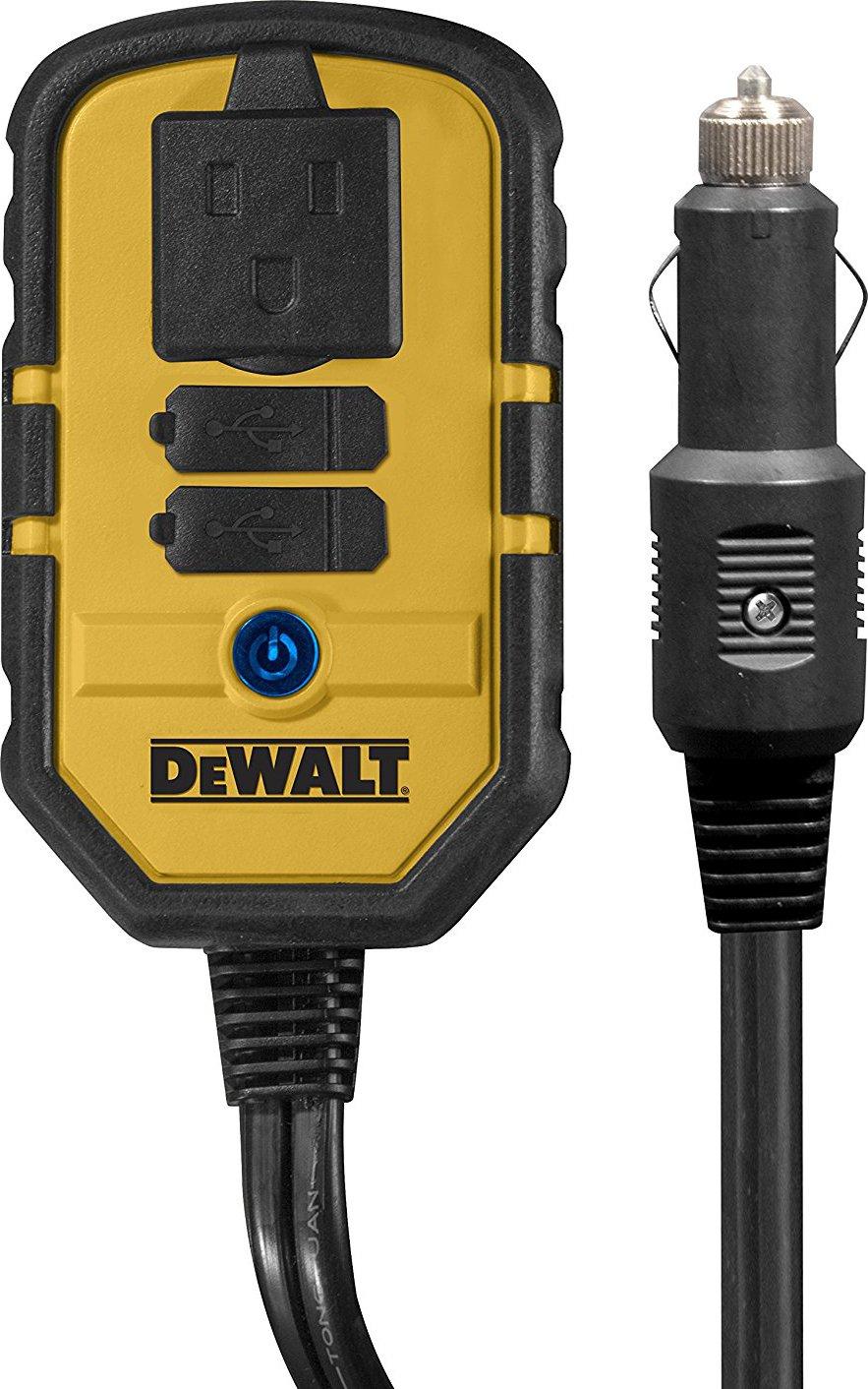 DEWALT DXAEPI140 Power Inverter 140W Car Converter: 12V DC to 120V AC Power Outlet with Dual 3.1A USB Ports by DEWALT
