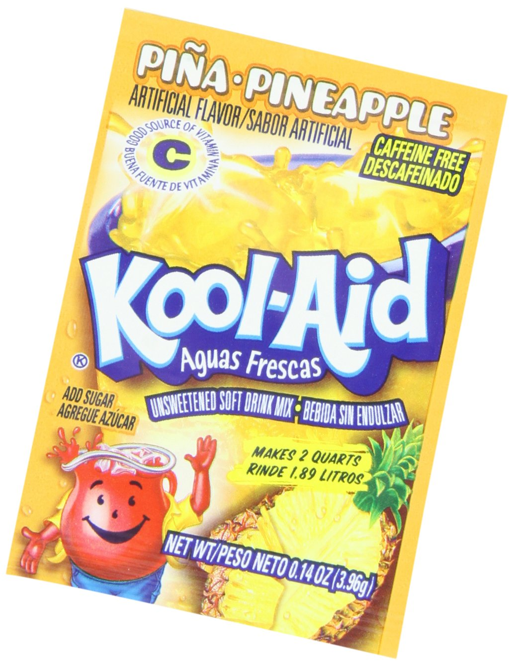 Amazon.com : Kool-Aid Aguas Frescas Pina Pineapple Unsweetened Soft Drink Mix, 0.14-Ounce Packets (Pack of 48) : Grocery & Gourmet Food