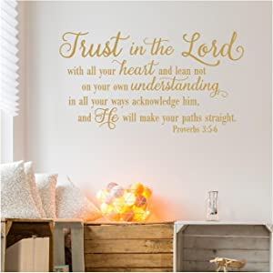"""Trust in The Lord with All Your Heart.Proverbs 3:5-6 Vinyl Lettering Wall Decal Sticker (21""""H x 38""""L, Metallic Gold)"""