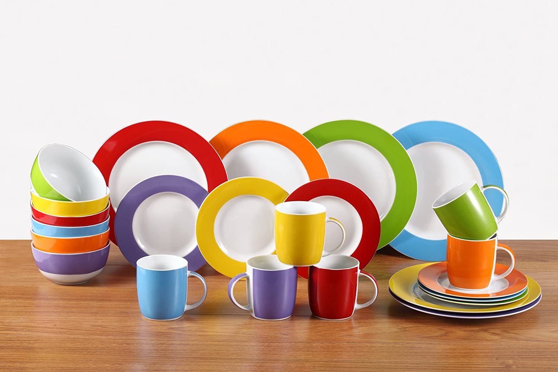 Dinner Set24Pcs Dinnerware Dishes Porcelain Crockery Round PlatesBowlsSidePla
