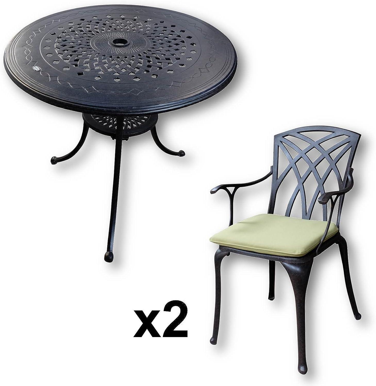 Lazy Susan Salon de Jardin en Aluminium moul/é chaises April, Coussins Bleus Table Ronde 80 cm Anna et 2 chaises de Jardin Coloris Bronze Ancien