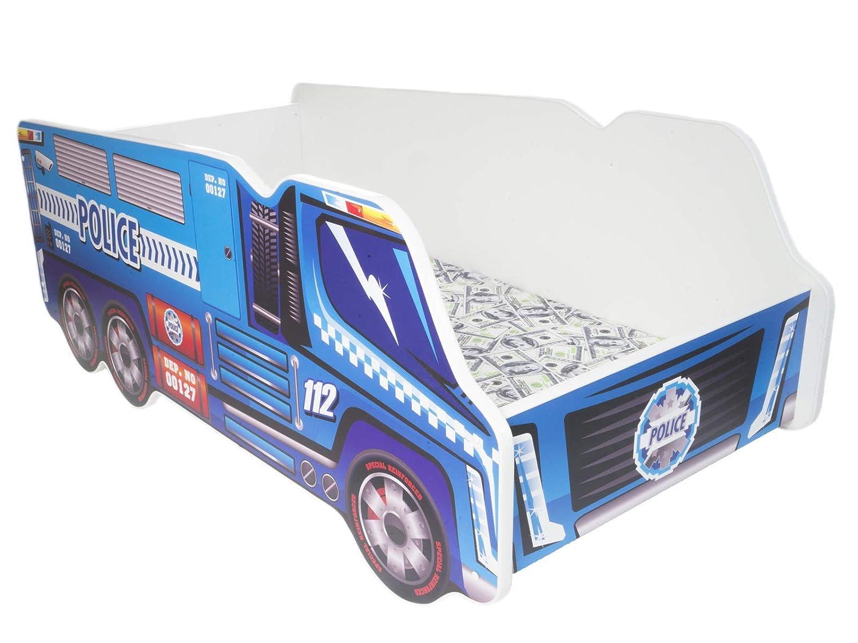 TODDLER CHILDREN KIDS BED INCLUDING MATTRESS CAR TRUCK (Police Truck) Topbeds