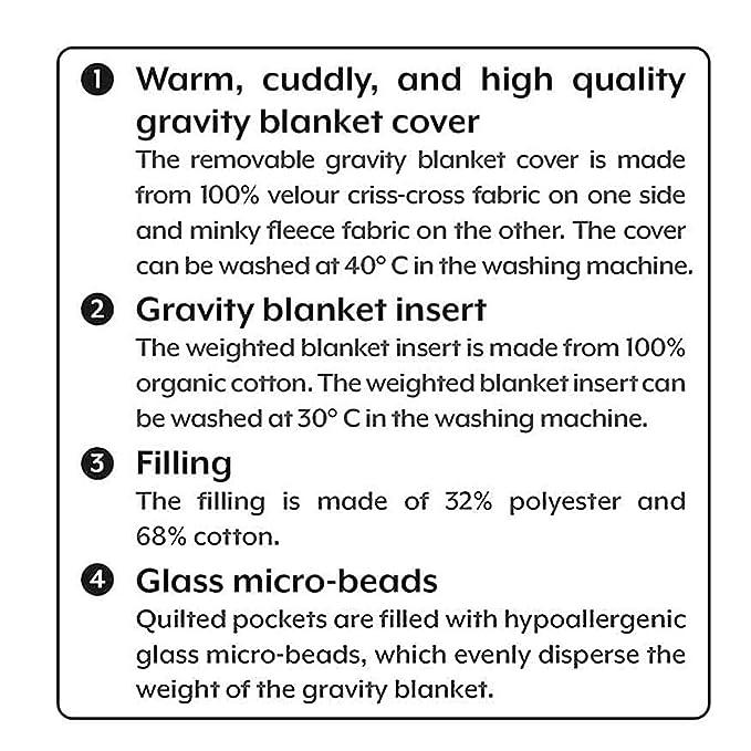HY Manta ponderada (11,3 kg para Personas Mayores de 100 KG, tamaño Queen) | Material de algodón orgánico con Cuentas de Vidrio | Manta sensorial de ...