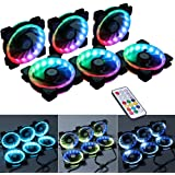 Ubanner Wireless RGB LED 120mm Case Fan with Controller for PC Cases, CPU Coolers, Radiators system (6pcs rgb fans, RF Remote Control, A Series)