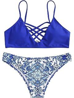 c14690c29c5a8 SweatyRocks Women s Bathing Suit Adjustable Spaghetti Strap Floral Print Criss  Cross Bikini Set