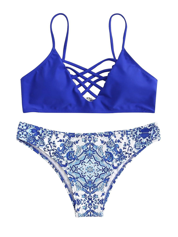 3719499b147 QINSEN Womens Tie Knot Front High Waist Thong Bandage 2PCS Bikini Sets  Beachwear sun49 Clothing, ...