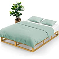 Zinus Industrial Pine Wood Double Bed Frame   Low Bed Base Mattress Foundation - Natural 20cm