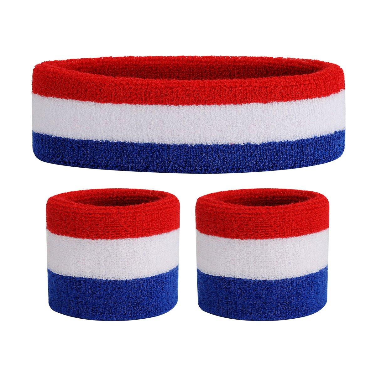 ONUPGO Kids Head Sweatband Wristband Set - Athletic Cotton Terry Cloth Headbands for Sports (1 Headband + 2 Wristbands)