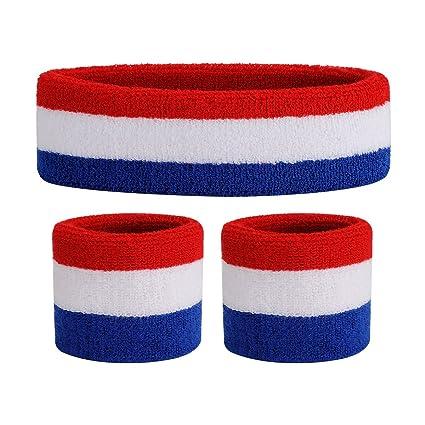 4ee5c7faa90c OnUpgo Kids Sweatbands Headband Wristband Set - Athletic Cotton Sweat Band  for Sports (1 Headband