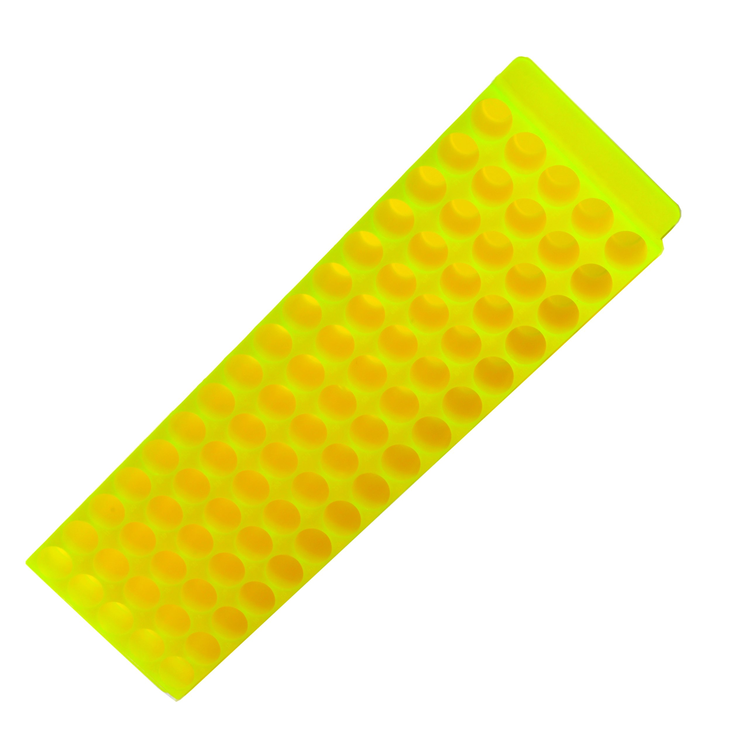 Bio Plas 0074 Polypropylene 80 Well Microcentrifuge Tube Rack, Autoclavable, Fluorescent Yellow (Pack of 5)