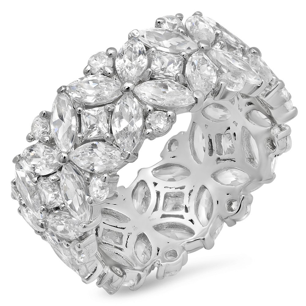 Sterling Silver Multi-Cut Cubic Zirconia Eternity Ring, Size 9