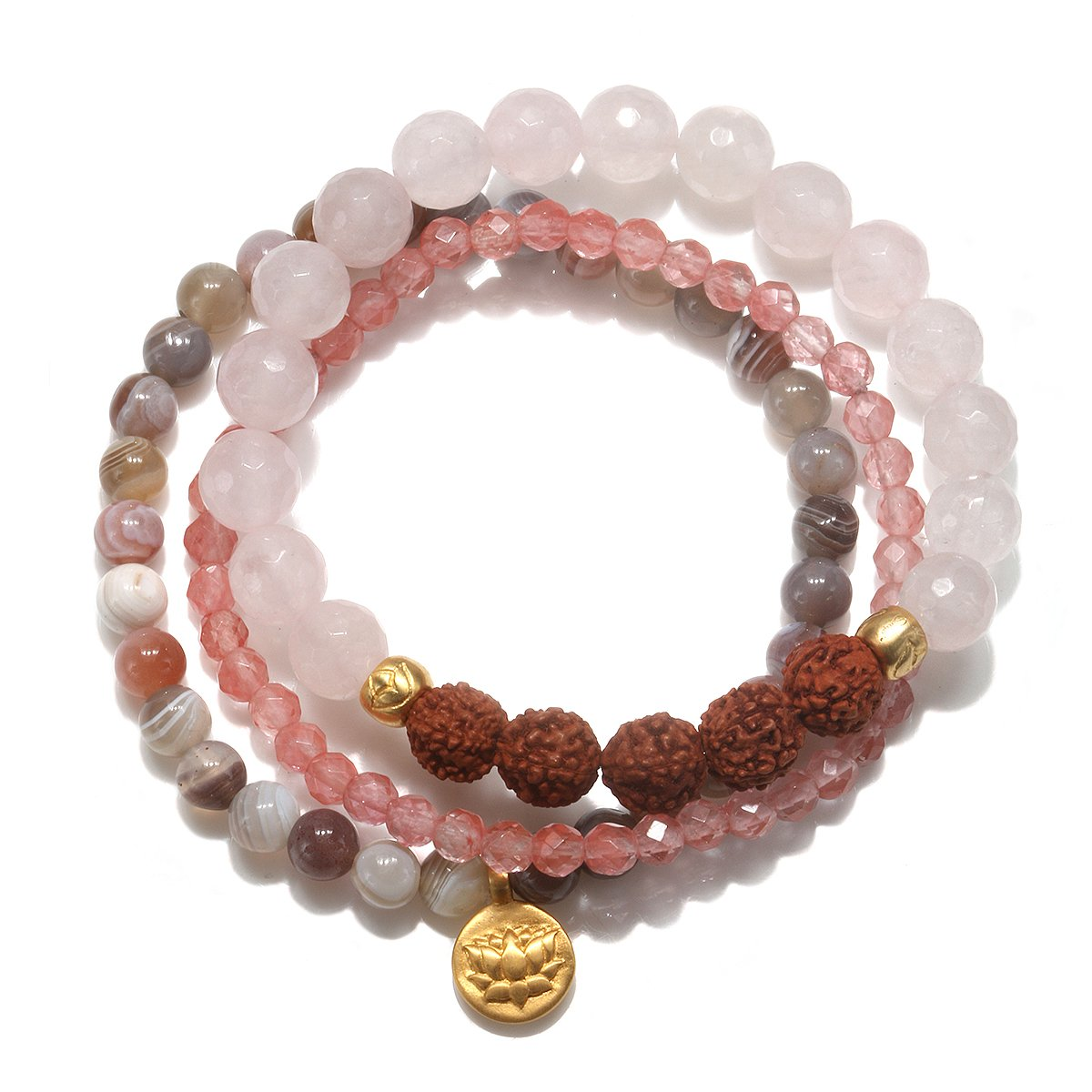Satya Jewelry Womens Rose Quartz Gold Lotus Stretch Bracelet Set, Pink, One Size