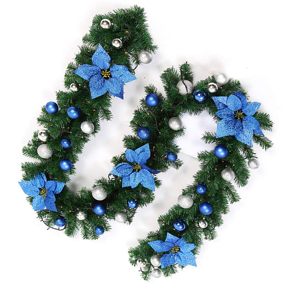 Hootech 9 Feet Christmas Garland with Lights and Balls Artificial Pine Wreath Garland Battery Powered Xmas Decorations for Wall Door Stair (1pc, Blue)