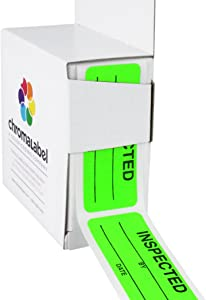 ChromaLabel 1 x 2-1/4 Inch Quality Control Inventory Labels, 200 Labels per Dispenser Box, Fluorescent Green, Imprinted: Inspected by